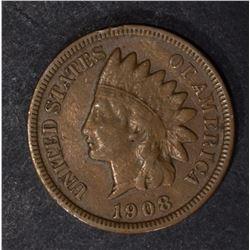 1908-S INDIAN CENT, FINE+