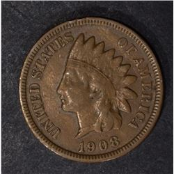 1908-S INDIAN CENT, FINE+