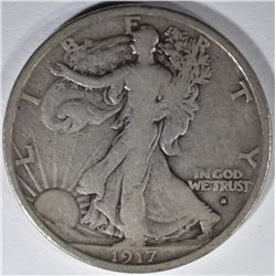 1917-S OBVERSE WALKING LIBERTY HALF DOLLAR, FINE+