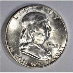 1952-S FRANKLIN HALF DOLLAR, GEM BU