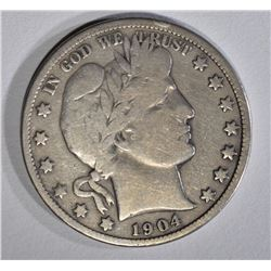 1904-S BARBER HALF DOLLAR VG/F