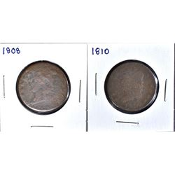 1808 LARGE CENT  FAIR & 1810 LARGE CENT  FAIR