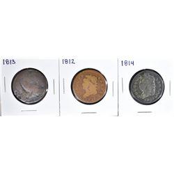 3 LARGE CENTS:  1812 FAIR, 1813 POOR &