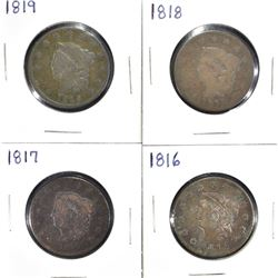 4 LARGE CENTS: 1816 XF CORRODED,