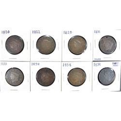 8 LARGE CENTS: 1820 CORRODED, 1822 FAIR,