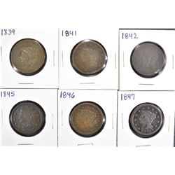 6 LARGE CENTS: 1839 G, 1841 AG,
