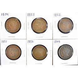 6 LARGE CENTS:  1849 VG, 1850 DAMAGE,
