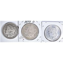3 MORGAN DOLLARS:  1899-O VF,