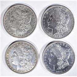 4 MORGAN DOLLARS:  1884 VF, 1884 XF,