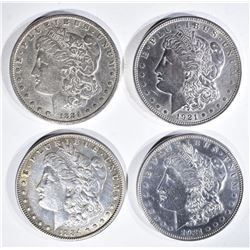 4 MORGAN DOLLARS:  1884 VF, 1884 XF,