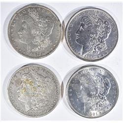 4 MORGAN DOLLARS:  1921 BU, 1890 AU,