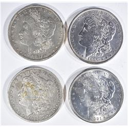 4 MORGAN DOLLARS:  1921 BU, 1890 AU,
