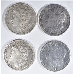 4 MORGAN DOLLARS:  1883 RIM NICK,