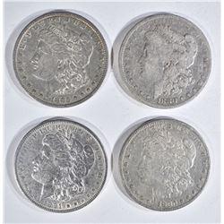 4 MORGAN DOLLARS:  1880 FINE,