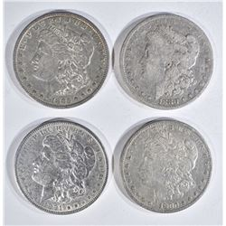 4 MORGAN DOLLARS:  1880 FINE,