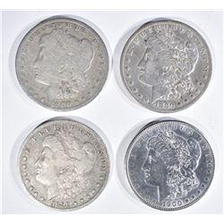 4 MORGAN DOLLARS:  1900-O G,