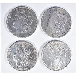 4 MORGAN DOLLARS:  1898 UNC, 1883 XF,