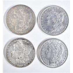 4 MORGAN DOLLARS:  1889-O XF, 1885 XF,