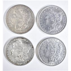 4 MORGAN DOLLARS:  1889-O XF, 1885 XF,