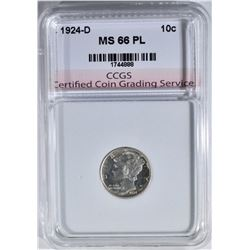 1924-D MERCURY DIME CCGS SUPERB GEM PL