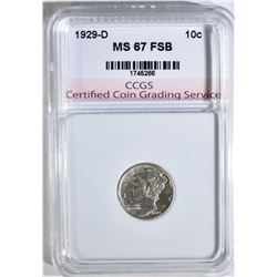 1929-D MERCURY DIME CCGS SUPERB GEM FSB