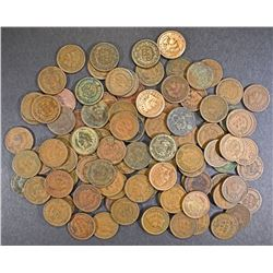 100-MIXED DATE CIRC INDIAN CENTS