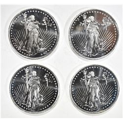 "4 ""STANDING LIBERTY"" ONE OUNCE .999 SILVER ROUNDS"
