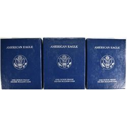 3 - 2004 PROOF AMERICAN SILVER EAGLES
