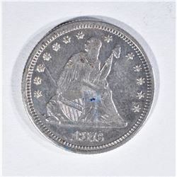 1876 SEATED QUARTER  AU