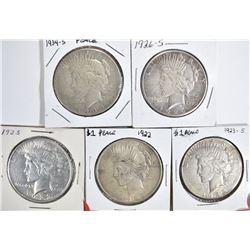 5 CIRC PEACE DOLLARS:  1923-S, 1922,