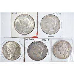 5 CIRC PEACE DOLLARS:  1934-S, 1926-S,