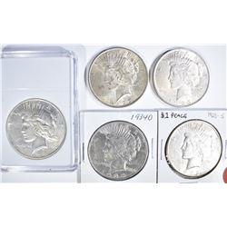 5 CIRC PEACE DOLLARS:  1926-S, 1934-D,