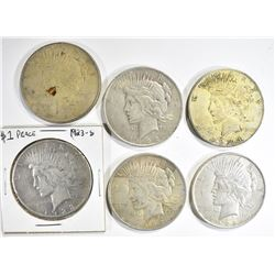 6 CIRC PEACE DOLLARS:  4- 1922, 1923-S,