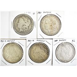 5 CIRC MORGAN DOLLARS:  1899-O,