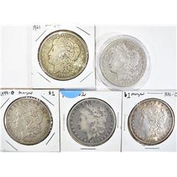 5 CIRC MORGAN DOLLARS:  1921, 1921-S,