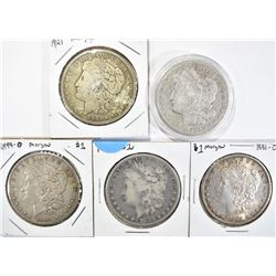 5 CIRC MORGAN DOLLARS:  1921, 1921-S,