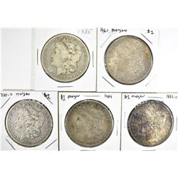 5 CIRC MORGAN DOLLARS:  1885, 1921,