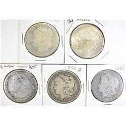 5 CIRC MORGAN DOLLARS:  1882,