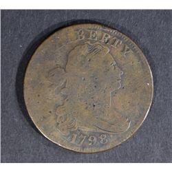 1798 LARGE CENT, FINE large rim cud reverse