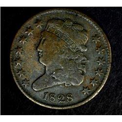 1828 HALF CENT, F/VF