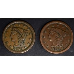 2 - 1853 LARGE CENTS VERY FINE+/XF