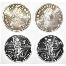 2-BUST & 2-WALKING LIBERTY 1oz .999 SILVER ROUNDS