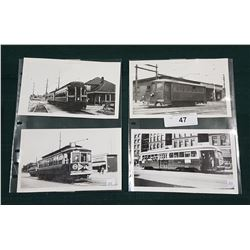 FOUR BLACK/WHITE PICTURES OF BC ER TROLLEYS OF VANCOUVER