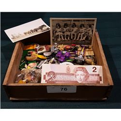 WOOD TRAY OF VINTAGE COLLECTIBLES