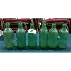 SIX 1960'S MOUNTAIN DEW, 7UP & SPRITE GREEN GLASS POP BOTTLES