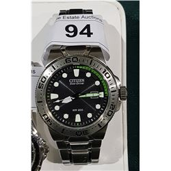 CITIZEN ECO-DRIVE WR200 GREEN FACE MENS WATCH