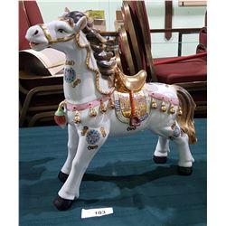 LARGE HAND PAINTED SPANISH PORCELAIN HORSE