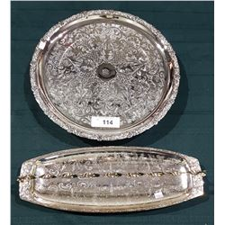 2 SILVER PLATE SERVING PIECES