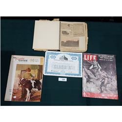 SCRAPBOOK OF ANTIQUE NEWSPAPER CLIPPING, LIFE MAGAZINES, STOCK CERTIFICATES ETC