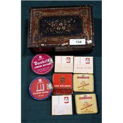 ANTIQUE WOOD JEWELRY BOX W/8 TOBACCO TINS
